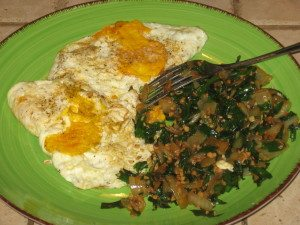 Free Range Eggs with a Side of Daylily Greens